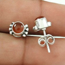 Lustrous Carnelian Gemstone Sterling Silver Stud Earrings 925 Silver Fashion Jewellery