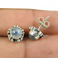 Good-Looking Rainbow Moonstone Sterling Silver Stud Earrings 925 Sterling Silver Antique Jewellery