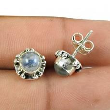 Good-Looking Rainbow Moonstone Sterling Silver Stud Earrings 925 Sterling Silver Antique Jewellery