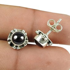Possessing Good Fortune Garnet Gemstone Sterling Silver Stud Earrings 925 Silver Indian Jewellery