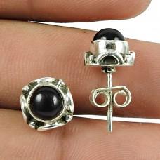 Sightly Black Onyx Gemstone Sterling Silver Stud Earrings Indian Sterling Silver Jewellery