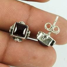 Classic Garnet Gemstone Sterling Silver Stud Earrings 925 Sterling Silver Jewellery