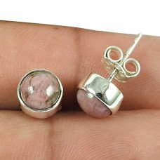Pretty Rhodochrosite Gemstone Sterling Silver Stud Earrings 925 Sterling Silver Gemstone Jewellery