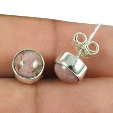 Pretty Rhodochrosite Gemstone Sterling Silver Stud Earrings 925 Sterling Silver Gemstone Jewellery