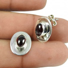 Natural Red Garnet Gemstone Sterling Silver Stud Earrings 925 Silver Jewellery