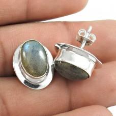 Indian Silver Jewelry Ethnic Labradorite Gemstone Earrings