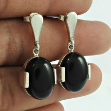 Charming Black Onyx Gemstone 925 Sterling Silver Drop Earrings Vintage Jewellery