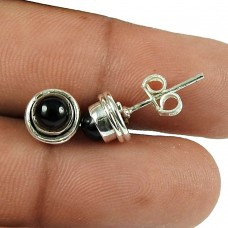 Rattling Black Onyx Gemstone Sterling Silver Stud Earrings Indian Silver Jewellery