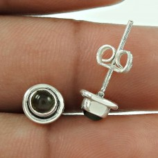 Dainty Smoky Quartz Gemstone Sterling Silver Stud Earrings 925 Sterling Silver Vintage Jewellery