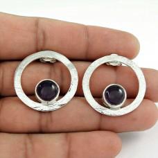 Charming Amethyst Gemstone 925 Sterling Silver Vintage Drop Earrings Jewellery