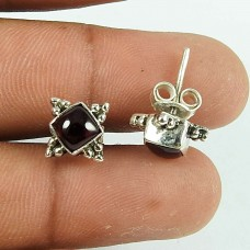 Possessing Good Fortune Garnet Gemstone Sterling Silver Stud Earrings 925 Sterling Silver Indian Jewellery