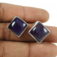 Party Wear Amethyst Gemstone 925 Sterling Silver Stud Earrings Women Jewellery