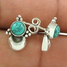 Engaging Turquoise Gemstone Sterling Silver Stud Earrings Fine Jewellery