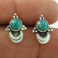 Daily Wear Turquoise Gemstone Sterling Silver Stud Earrings Handmade Jewellery