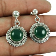 Engaging 925 Sterling Silver Green Onyx Gemstone Earrings