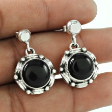 Party Wear 925 Sterling Silver Black Onyx Gemstone Earrings