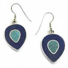925 Sterling Silver Jewelry Beautiful Inlay Gemstone Earrings