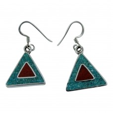 Scenic!! 925 Sterling Silver Inlay Earrings Supplier India