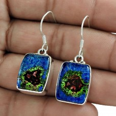 Amazing Design ! 925 Sterling Silver Dico Glass Earrings