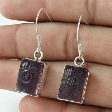 925 Sterling Silver Indian Jewellery Beautiful Amethyst Quartz Gemstone Earrings