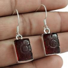 925 Sterling Silver Gemstone Jewellery Trendy Garnet Quartz Gemstone Earrings