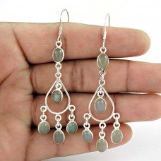 Lively ! Chalcedony Gemstone Sterling Silver Earrings Jewelry De gros