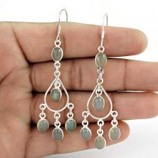 Lively ! Chalcedony Gemstone Sterling Silver Earrings Jewelry De gros