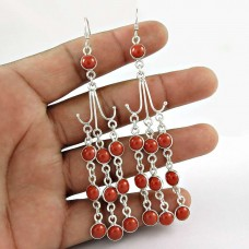 Scallywag ! Coral Gemstone Sterling Silver Earrings Jewelry Grossiste