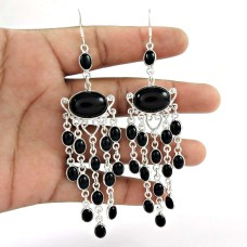 Scenic ! Black Onyx Gemstone Sterling Silver Earrings Jewelry Fabricant