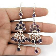 Schemer ! Amethyst Gemstone Sterling Silver Earrings Jewelry Großhandel