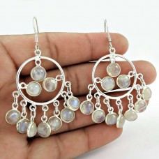 Sterling Silver Jewelry Fashion Rainbow Moonstone Earrings