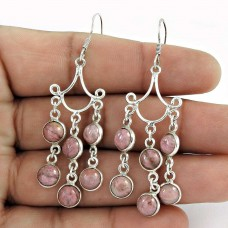 Beautiful !! Rhodonite Gemstone Sterling Silver Earrings Jewelry Wholesale Price