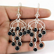Stylish Design !! Black Onyx Gemstone Sterling Silver Earrings Jewelry Fabricante