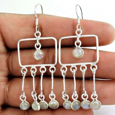 Victorian Style !! Rainbow Moonstone Gemstone Sterling Silver Earrings Jewelry Fabricant
