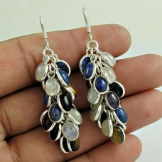 Party Wear Amethyst, Lapis, Tiger Eye, Black Onyx, Rainbow Moonstone Gemstone Sterling Silver Earrings Sterling Silver Fashion Jewellery