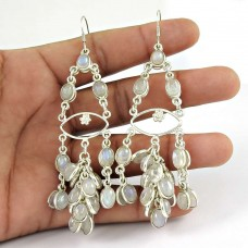 925 sterling silver antique jewelry Charming Rainbow Moonstone Gemstone Earrings Lieferant