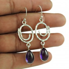 Lustrous amethyst Gemstone 925 Sterling Silver Dangle Earrings Ethnic Jewellery