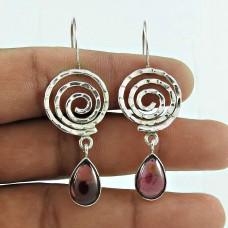 Handy Garnet Gemstone 925 Sterling Silver Dangle Earrings Handmade Jewellery