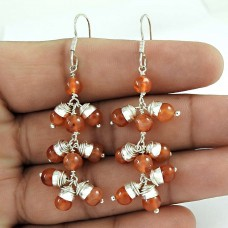 925 Sterling Silver jewelry Designer Carnelian Gemstone Earrings Wholesaling