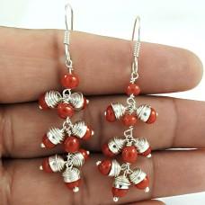 925 gemstone silver jewelry Fashion Coral Gemstone Earrings Wholesale