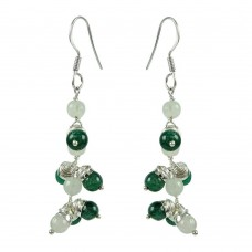 Classic Green Aventurine, Rose Quartz Gemstone Sterling Silver Earrings 925 Sterling Silver Jewellery