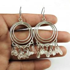 Rose Quartz Gemstone 925 Sterling Silver Earrings Beaded Jewellery