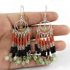 Well-Favoured!! 925 Sterling Silver Multi Stones Earrings Fabricant