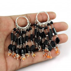 Mystic Princess ! 925 Sterling Silver Black Onyx, Carnelian Earrings Lieferant
