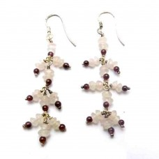 925 Sterling Silver Jewelry Charming Rose Quartz, garnet Gemstone Earrings