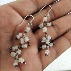 sterling silver jewelry Trendy Rainbow Moonstone, Garnet Earrings Wholesaling
