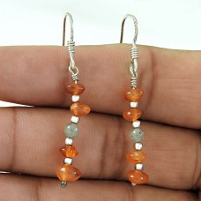 Beauty Queen !! Carnelian, labradorite Gemstone Sterling Silver Earrings Jewelry Mayorista