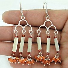 Classy !! Carnelian, Mother of Pearl Gemstone Sterling Silver Earrings Jewelry Manufacturer India