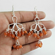 Daisy Moss !! Carnelian Gemstone Sterling Silver Earrings Jewelry Wholesale Price