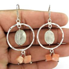 Gorgeous !! Carnelian, Prehnite Gemstone Sterling Silver Earrings Jewelry Mayorista